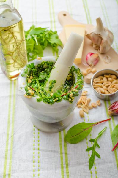 Ajo hierbas pesto casero alimentos hoja Foto stock © Peteer