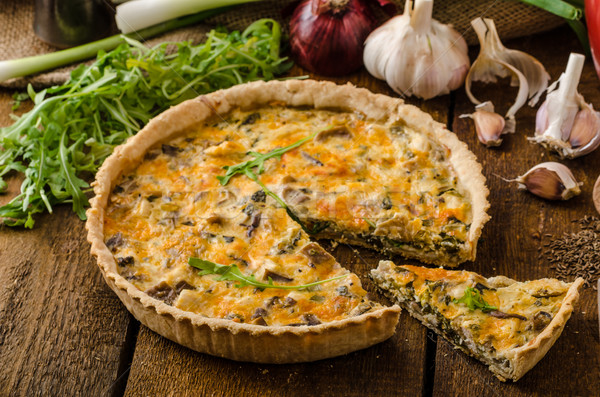 Cheese Quiche with chicken, arugula and mushrooms Stock photo © Peteer