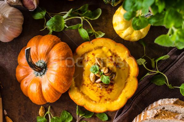 Foto stock: Cremoso · abóbora · sopa · fresco · pão · halloween