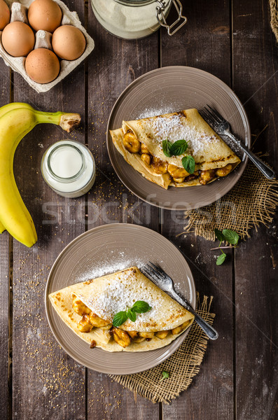 Panquecas recheado bananas nozes comida jantar Foto stock © Peteer