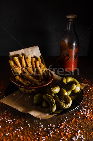 картофель фри кетчуп домашний соленья фон Сток-фото © Peteer