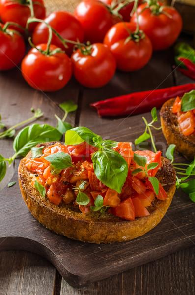 Italiaans bruschetta tomaten knoflook kruiden Stockfoto © Peteer