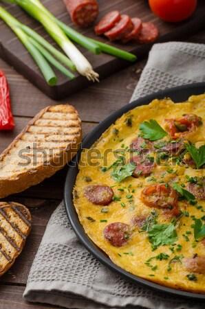 Chorizo çedar peynir biyo akşam yemeği kahvaltı Stok fotoğraf © Peteer