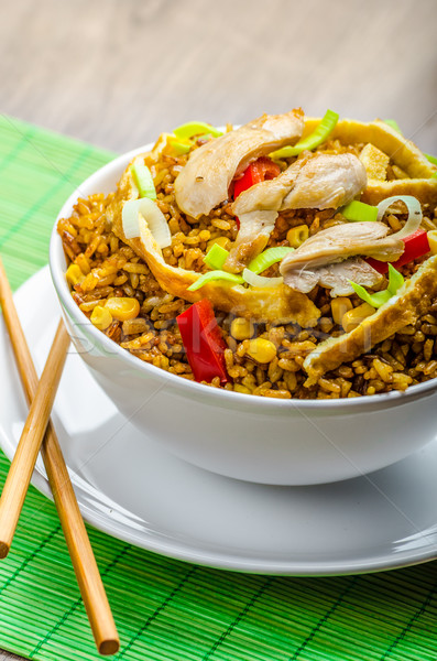 Foto stock: Caril · de · frango · arroz · chinês · verde