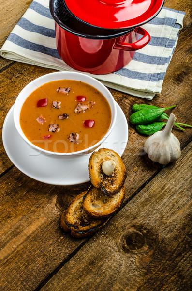 Goulash soup with crispy garlic toast Stock photo © Peteer