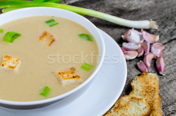 Soup garlic with toasted croutons Stock photo © Peteer