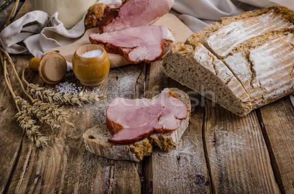 Stock photo: Smoked meat on homemade bread