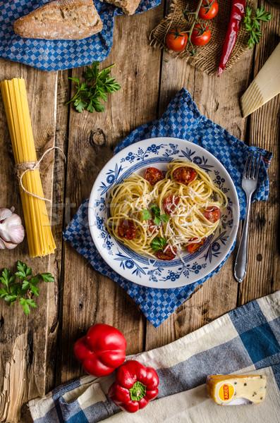 Italiaans pasta tomaten parmezaan rustiek Stockfoto © Peteer
