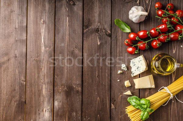 Still life photo, background with pasta and cheese Stock photo © Peteer