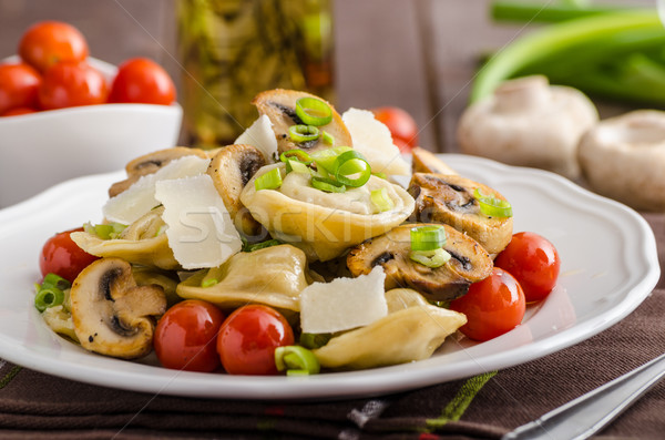 Tortellini stuffed with a mixture of vegetable spring Stock photo © Peteer