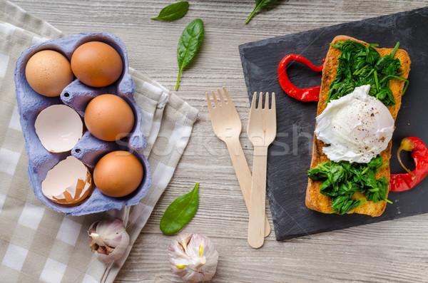 Grillé baguette oeuf ail épinards table Photo stock © Peteer