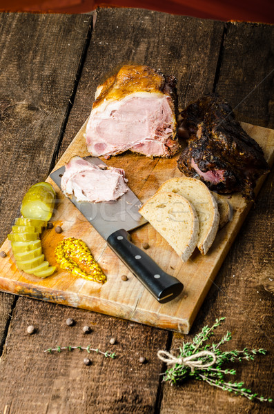 Slowly smoked meat and pickles Stock photo © Peteer