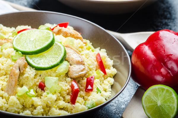 Couscous gegrilde kip vlees groenten vers kalk Stockfoto © Peteer
