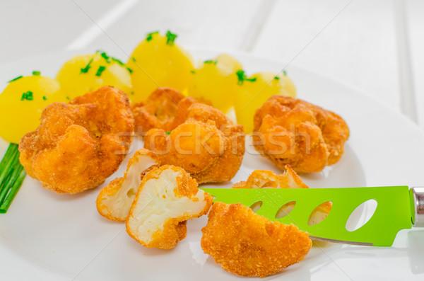 Sült karfiol szép zöld kés krumpli Stock fotó © Peteer