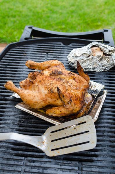 ızgara tavuk bütün doldurulmuş ızgara temizlemek gün Stok fotoğraf © Peteer