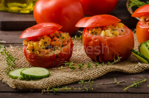 Grillés tomates bourré herbes salsa tous Photo stock © Peteer