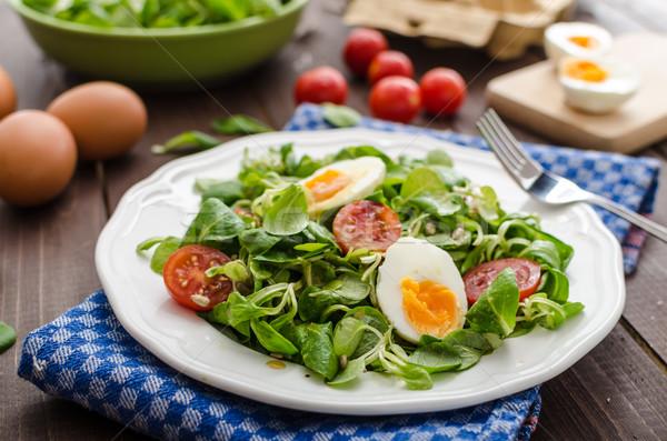 Foto stock: Lechuga · ensalada · huevos · tomates · miel · mostaza