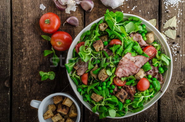 Fresh salad with bacon and croutons Stock photo © Peteer