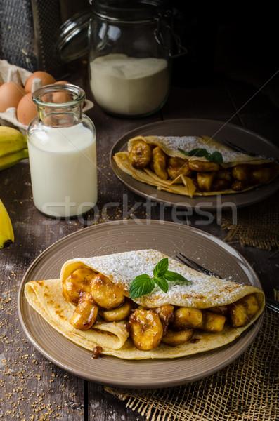 Naleśniki nadziewany bananów orzechy żywności obiedzie Zdjęcia stock © Peteer