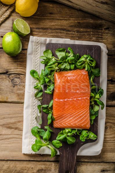 Fresh salmon with salad Stock photo © Peteer