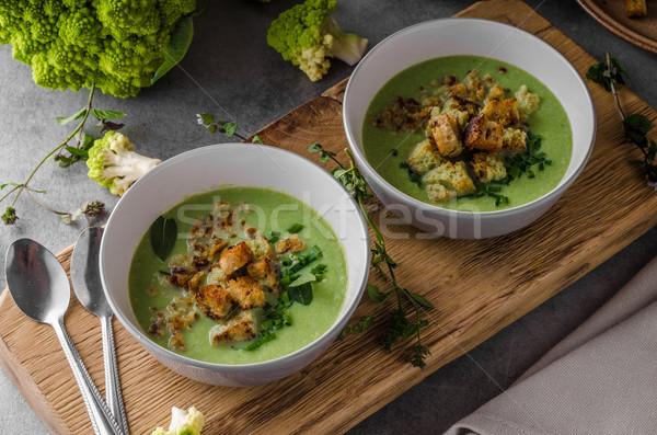 Verde cavolfiore zuppa pane cena mangiare Foto d'archivio © Peteer