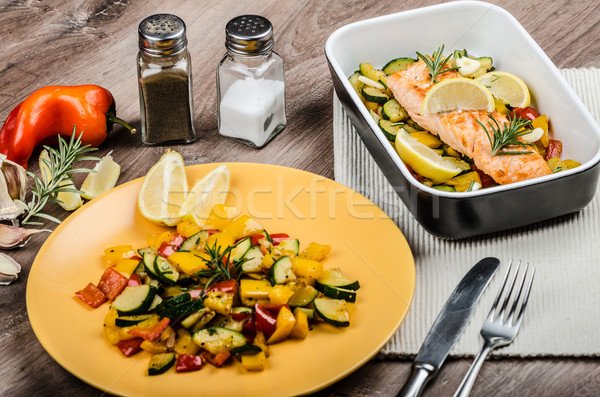 Salmon baked with thyme and Mediterranean vegetables Stock photo © Peteer