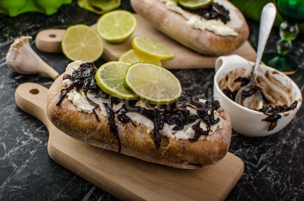 хлеб сыра лук темно кремом лука Сток-фото © Peteer