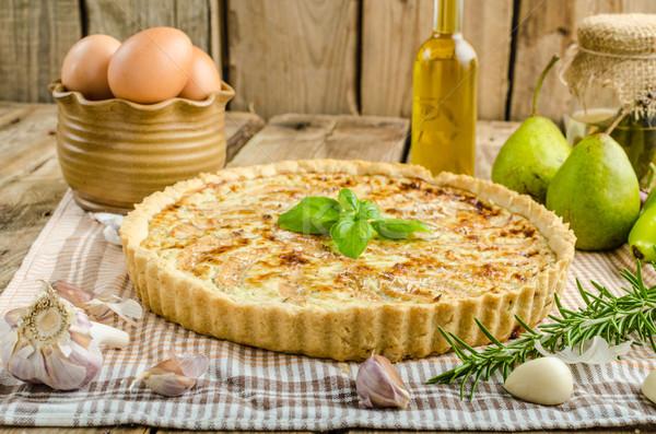 Foto stock: Francês · recheado · queijo · peras · queijo · azul · delicioso