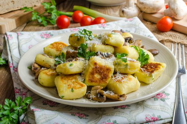 Crujiente frito setas hierbas parmesano alimentos Foto stock © Peteer