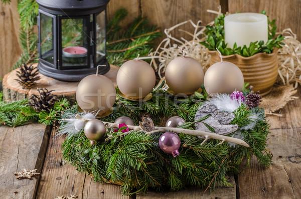 Navidad advenimiento corona casero hermosa regalo Foto stock © Peteer