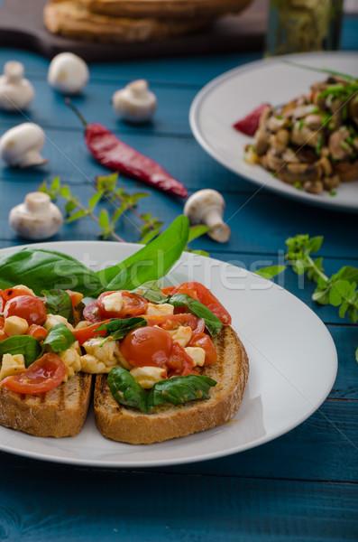 брускетта классический грибы томатный базилик моцарелла Сток-фото © Peteer