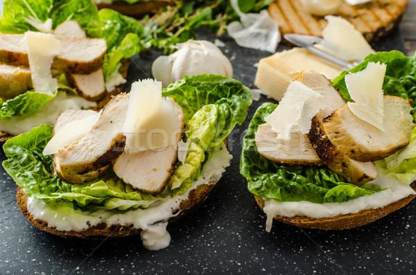 Ceasar salad on panini toast Stock photo © Peteer