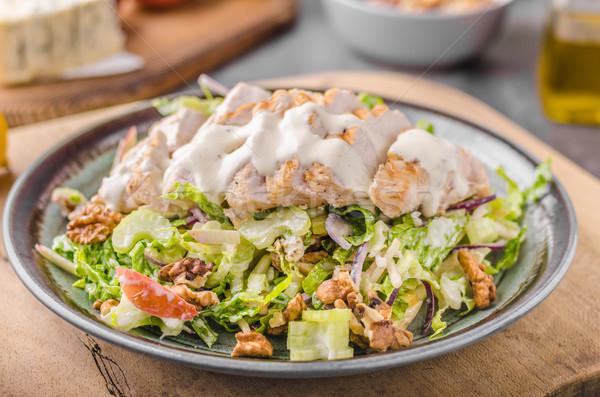 Stockfoto: Salade · gegrilde · kip · heerlijk · eenvoudige · recept · schimmelkaas