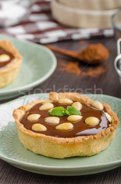 Chocolate tartalets with nuts Stock photo © Peteer