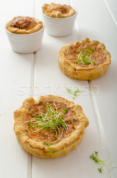 Onion mini quiche with bacon and corn Stock photo © Peteer