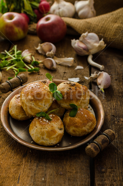 Cheese mini buns from domestic dough Stock photo © Peteer