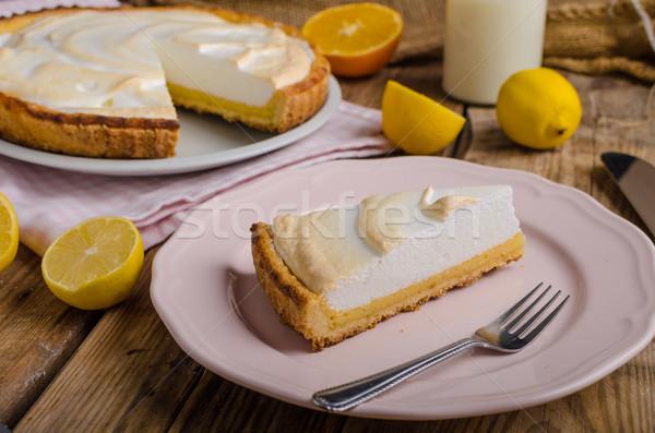 Citrom sajttorta finom egyszerű torta rusztikus Stock fotó © Peteer