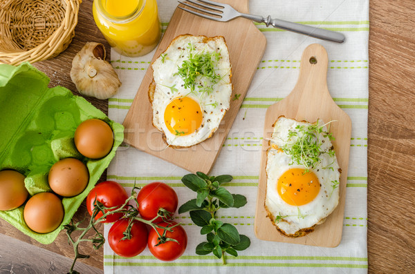 Healthy dinner panini toast, egg and vegetable Stock photo © Peteer