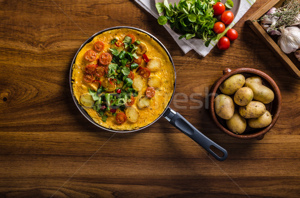 Frittata with tomatoes, herbs and chilli Stock photo © Peteer