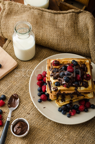 Waffles with fruits and chocolate Stock photo © Peteer