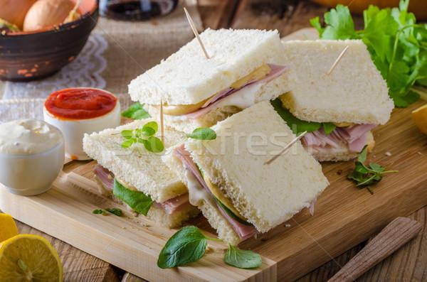 Bio Sandwich Käse Schinken grünen Stock foto © Peteer