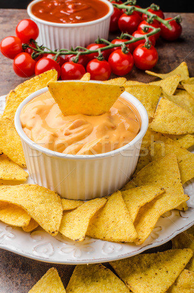 Tortilla chips with two dips Stock photo © Peteer