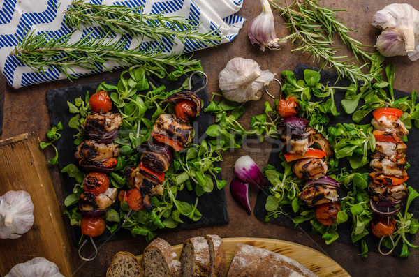 Grillezett hús nyárs szalonna ropogós zöldségek étel Stock fotó © Peteer