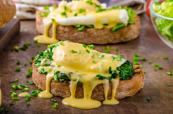 яйцо шпинат деревенский хлеб чеснока Сток-фото © Peteer