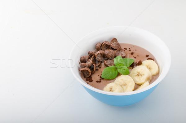 Chocolade pudding banaan kruiden voedsel fotografie Stockfoto © Peteer