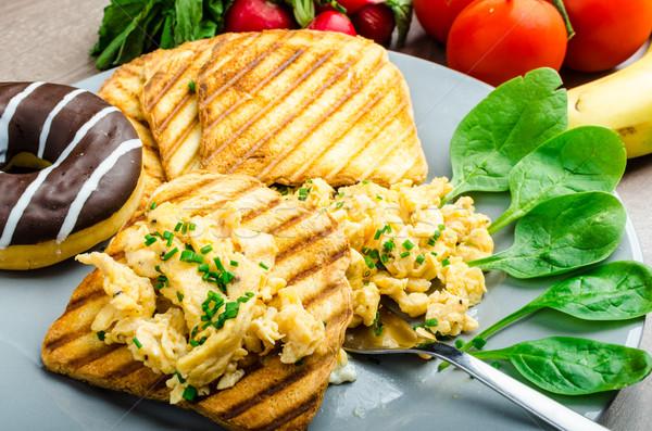 Photo stock: Saine · déjeuner · panini · Toast · ciboulette