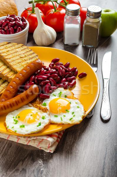 Angol reggeli fokhagyma pirítós tükörtojás bab Stock fotó © Peteer