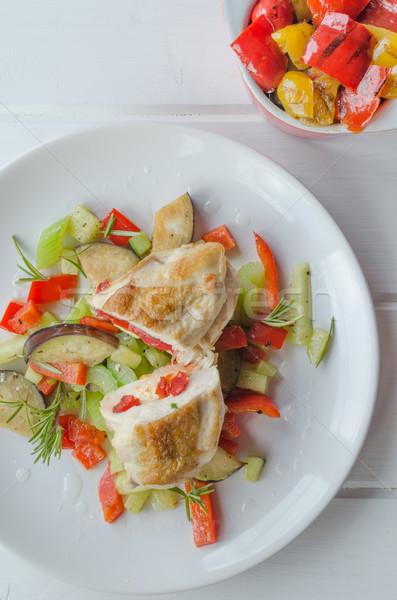 Grillcsirke mell fetasajt paprikák levél zöld Stock fotó © Peteer