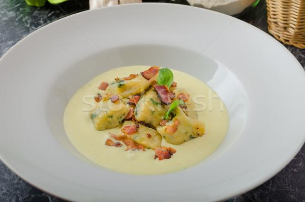 Spinazie parmezaan saus spek schone Stockfoto © Peteer