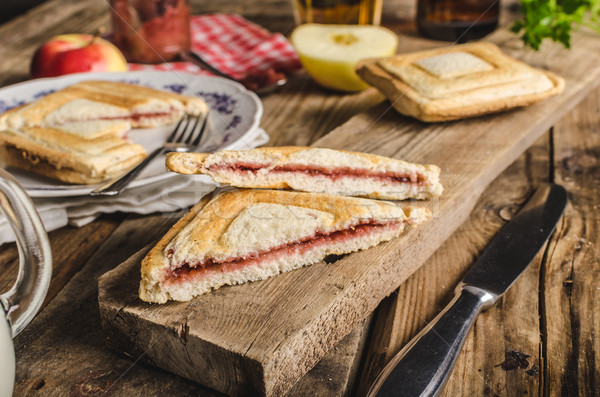 Old Bohemian toast with jam and beer Stock photo © Peteer